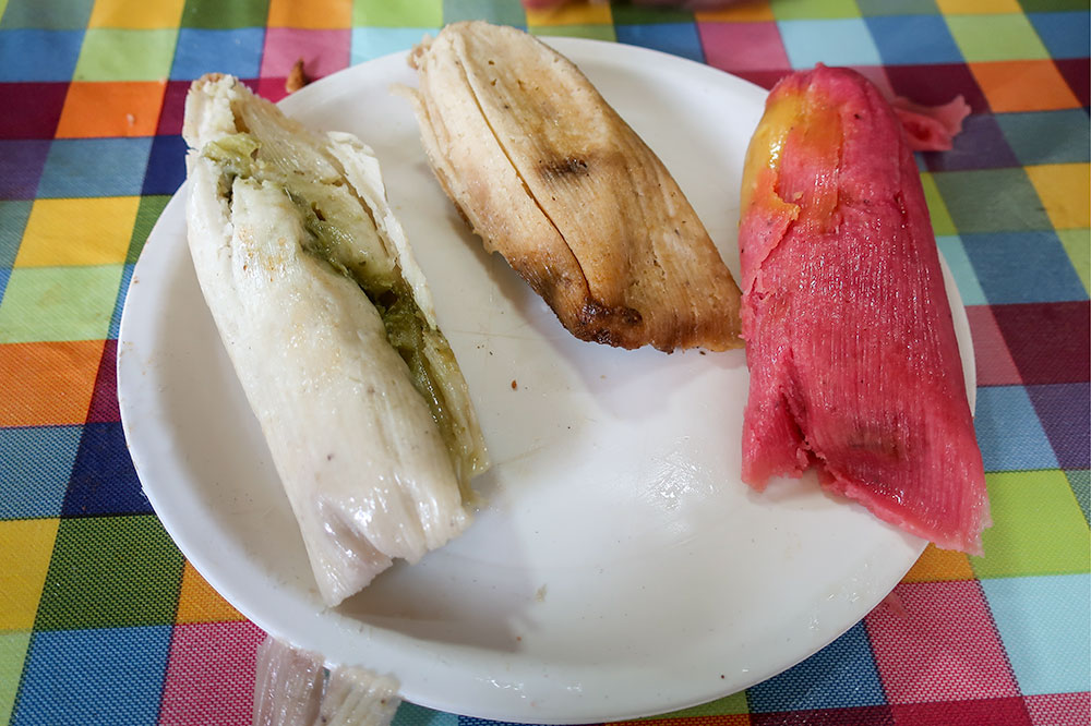 A variety of tamales eaten on the food tour