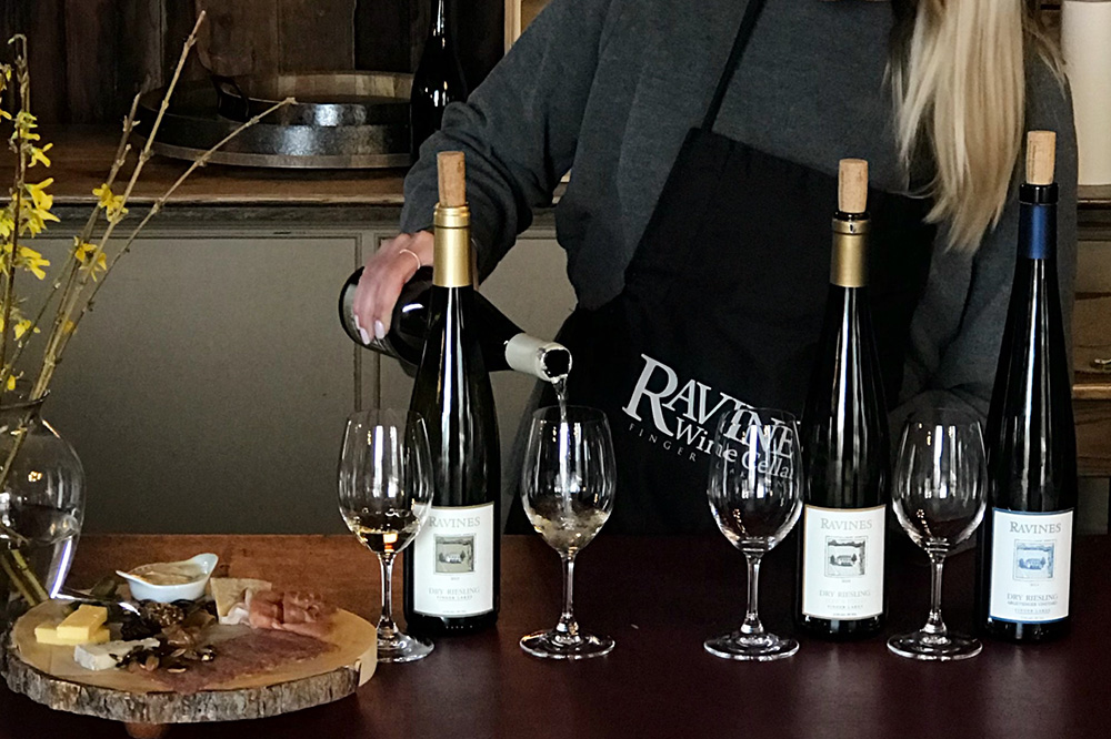 Riesling and grazing board at Ravines Wine Cellar
