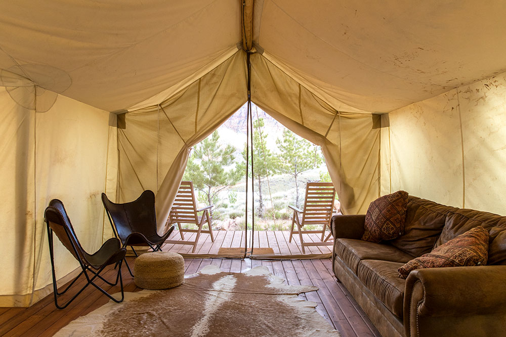 Our tented Suite at Under Canvas Zion