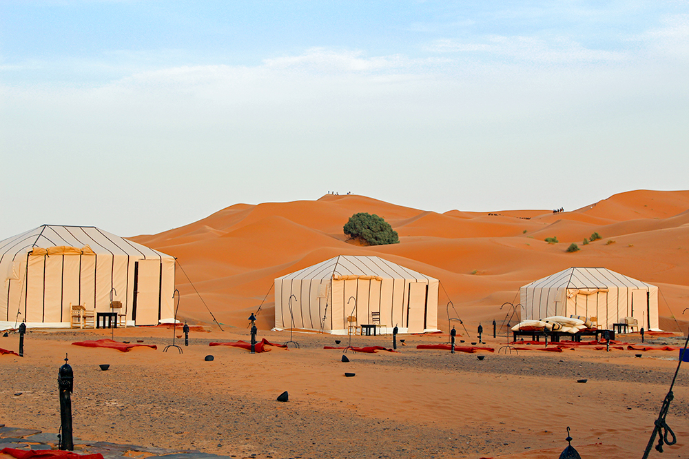Tents at Erg Chebbi Luxury Desert Camp in the Sahara desert in Merzouga, Morocco