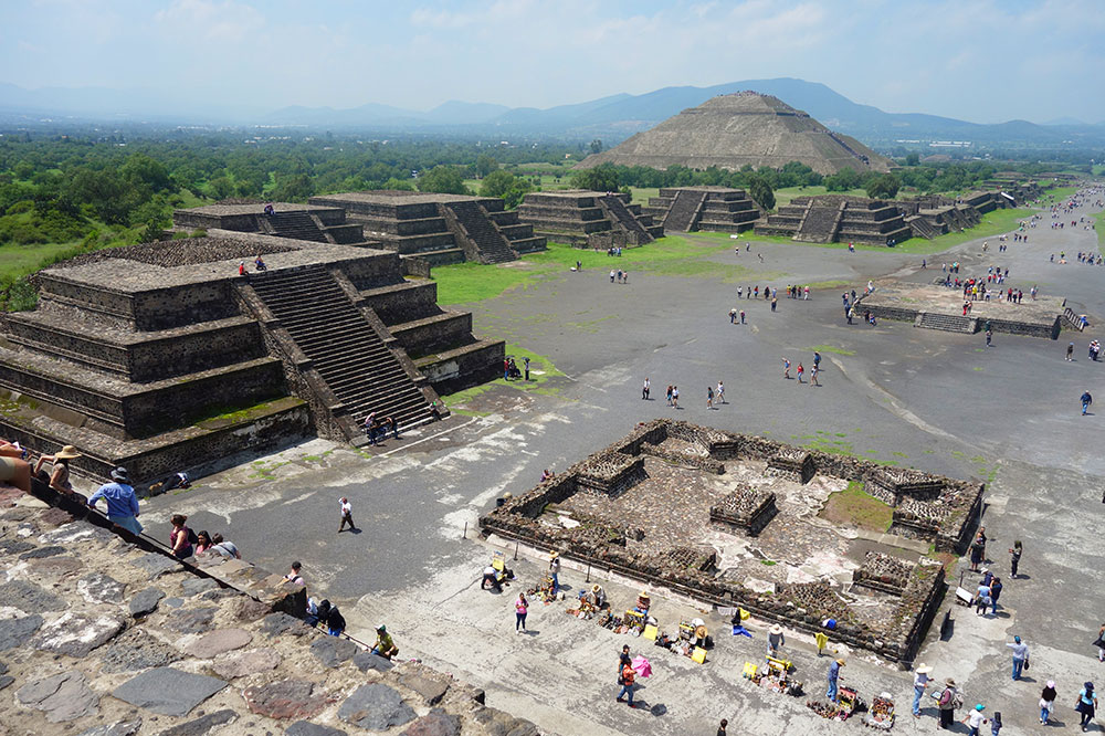 View of the Pyramid of the Sun and the Avenue of the Dead from the top of the Pyramid of the Moon at Teotihuacan in Mexico City, Mexico