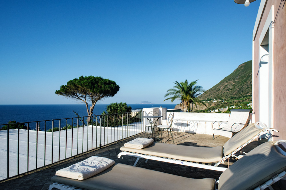 Terrace at Hotel Signum on Salina in the Aeolian Islands, Italy