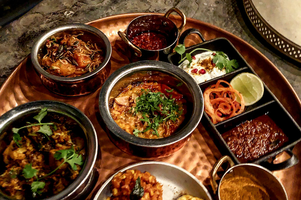 Variety of dishes at Thali