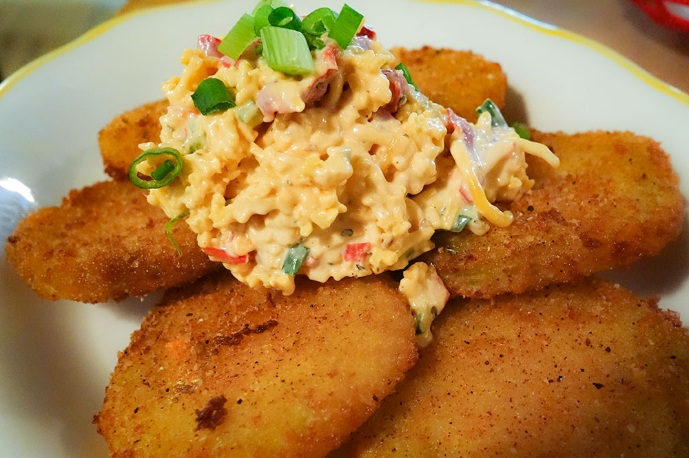 Fried green tomatoes with pimento cheese at The Glass Onion in Charleston