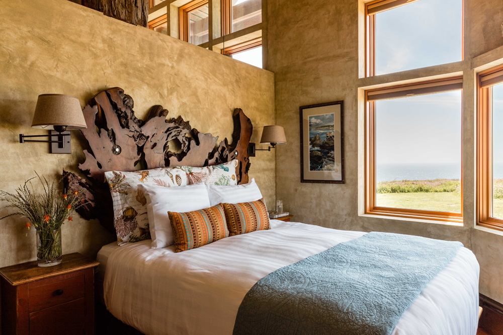 Suite bedroom in the Redwood House at The Inn at Newport Ranch, California