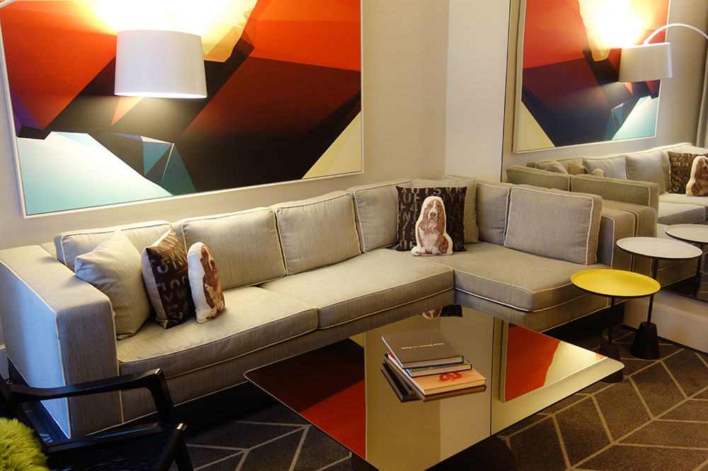 The lounge of our King Suite at The Kimpton Brice Hotel