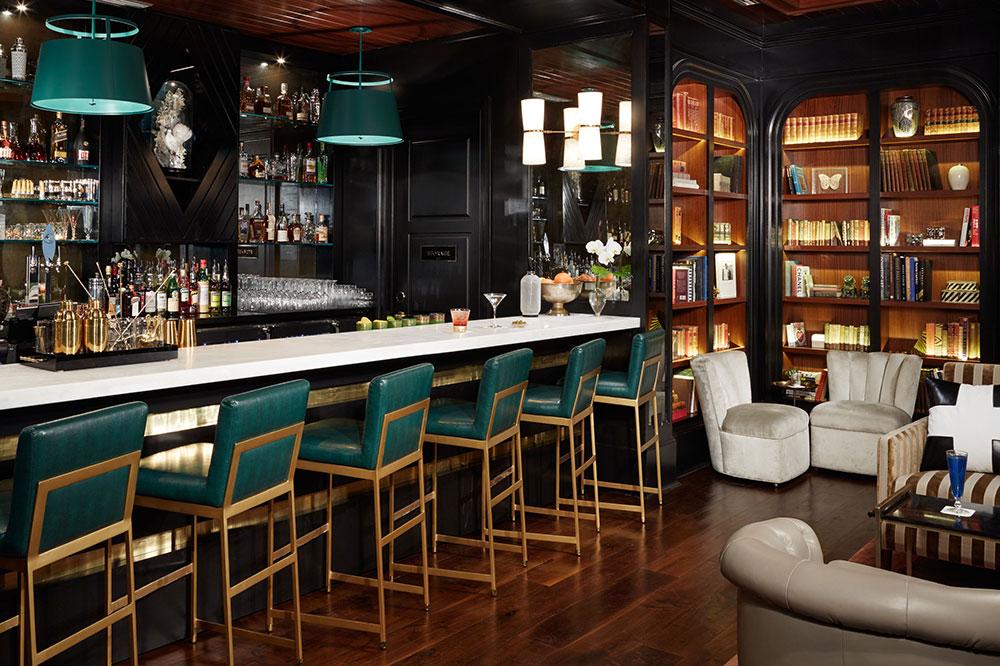 The hotel bar at The Spectator Hotel in Charleston, South Carolina