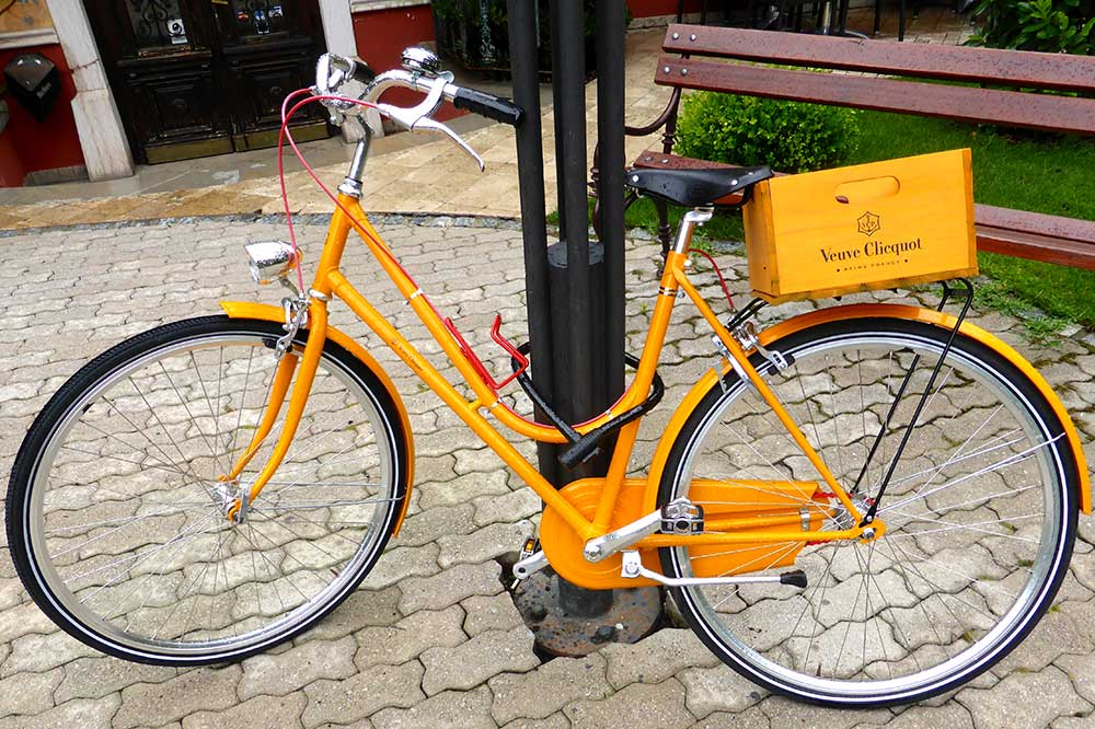 A delivery bike for Veuve Clicquot Champagne in Reims