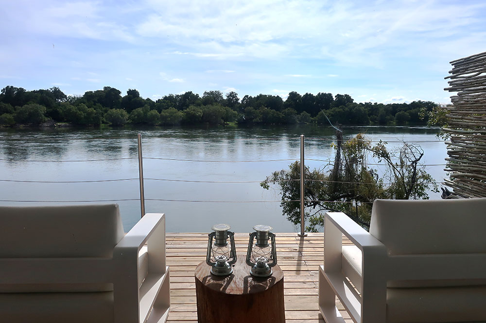 A terrace overlooking the Zambezi at Victoria Falls River Lodge Island Treehouses