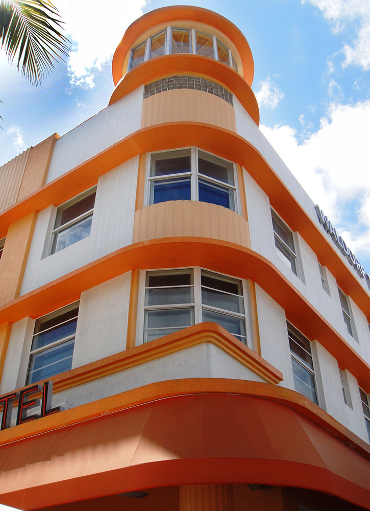 Exterior of the Waldorf Towers, seen on the walking tour from Art Deco Tours in Miami