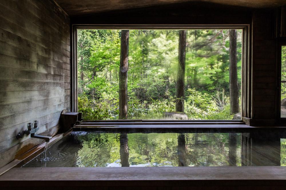 Wooden onsen at Wanosato