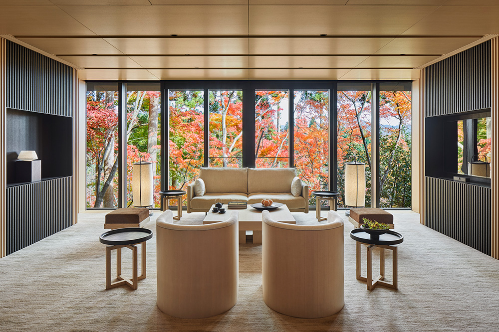 Washigamine Suite sitting area at Aman Kyoto, Japan