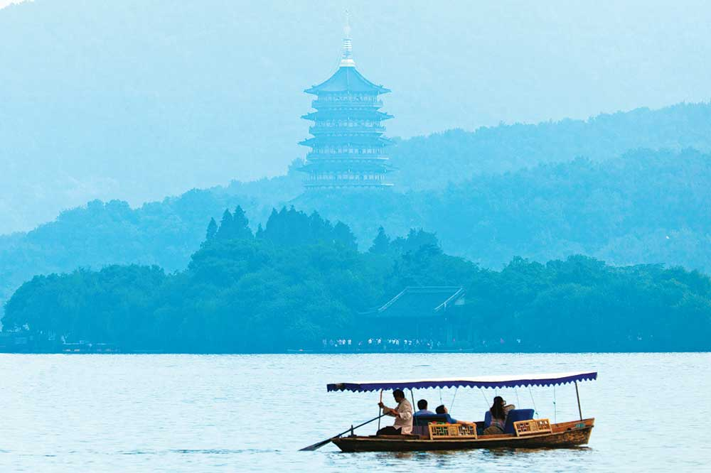 A boat on West Lake in Hangzhou, China