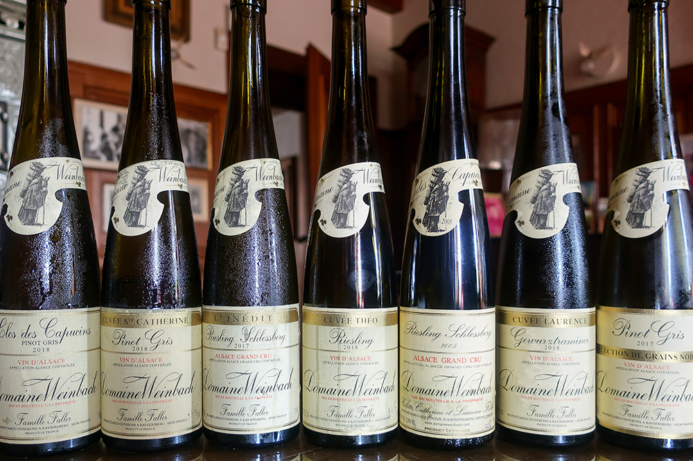 A selection of white wines at Domaine Weinbach in Kaysersberg