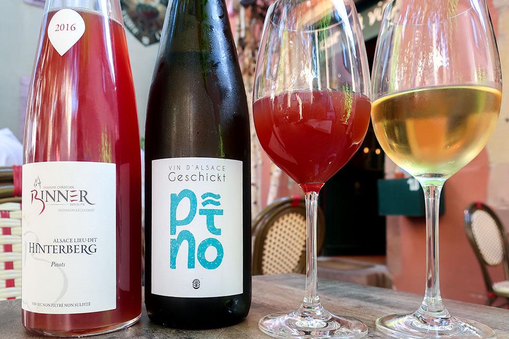 The 2016 Audrey et Christian Binner Hinterberg Pinot Noir and the 2016 Domaine Geschickt Pinô at L'un des Sens