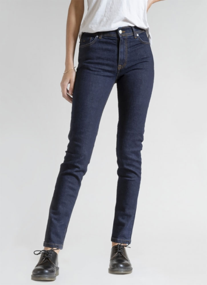 Women's indigo raw jeans, available at Ateliers de Nîmes