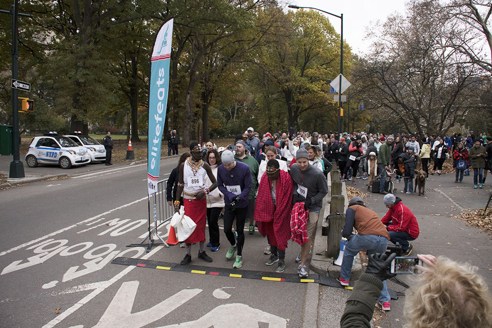 Runners at the starting line of the Saving the Elephants Run/Walk in Central Park - Zambezi Elephant Fund