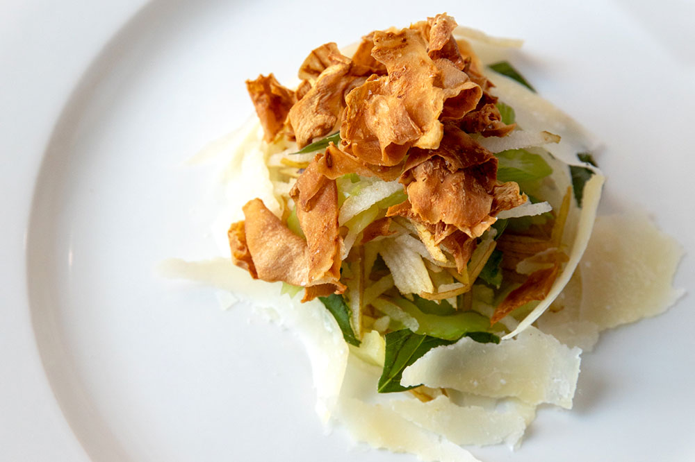 Asian pear and fried celery root from Zasu