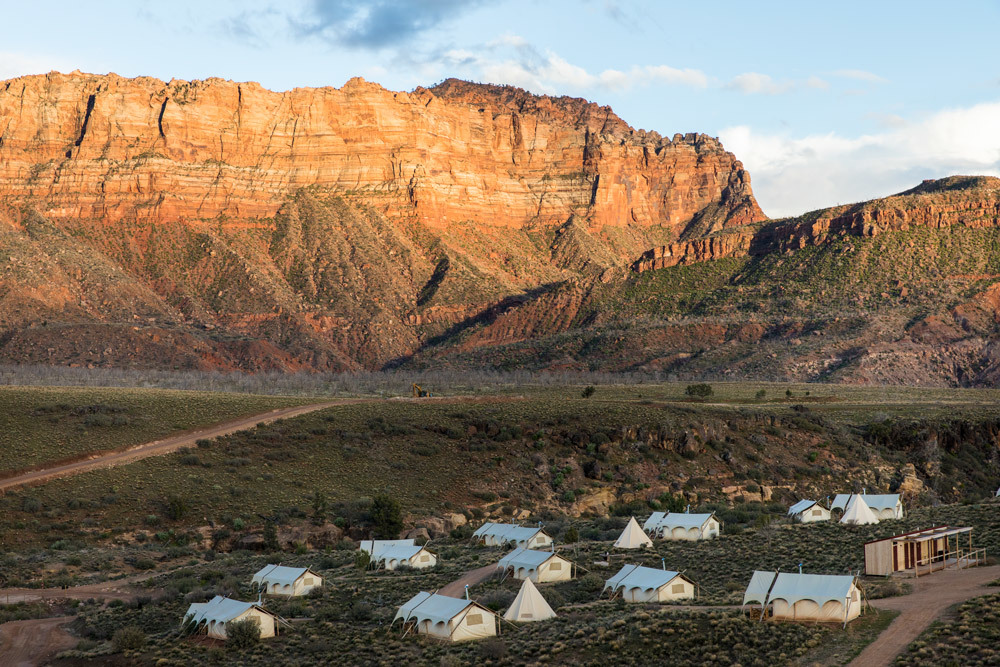 Under Canvas Zion with Zion National Park in the background
