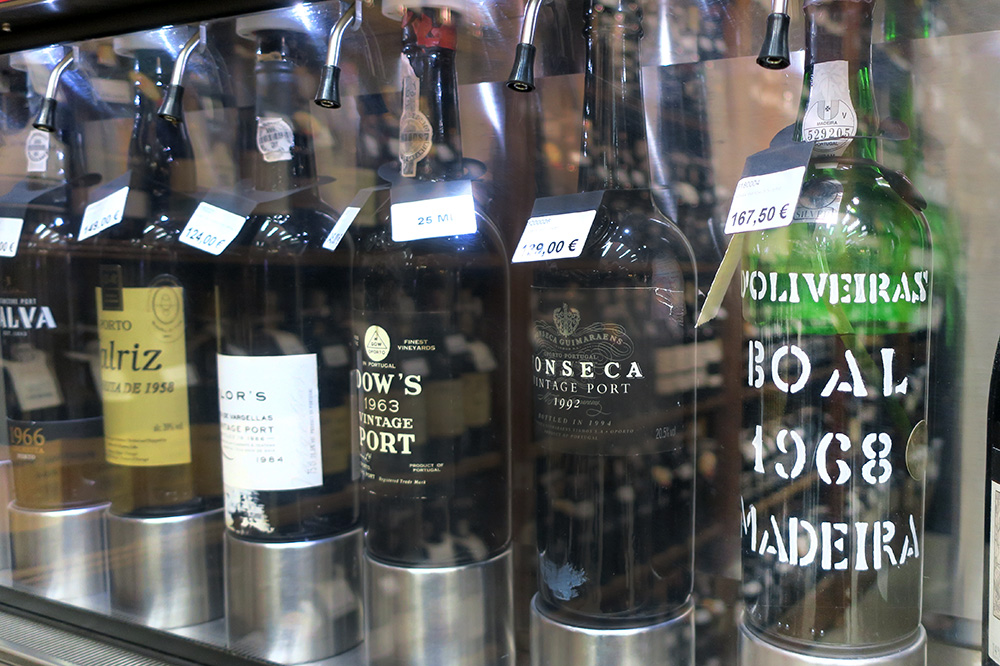 A bottle of 1968 Madeira Boal D'Oliveiras on display at Garrafeira Nacional in Lisbon, Portuga