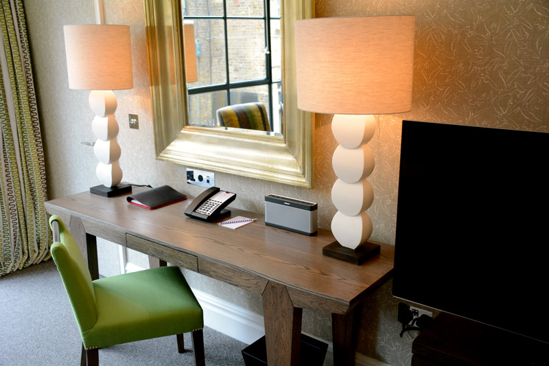 Work area in our Deluxe Junior Suite at Ham Yard Hotel