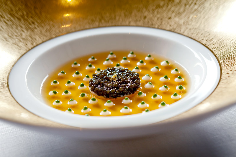 Caviar jelly on salmon tartare with cauliflower cream at La Grande Maison's <i>Restaurant Gastronomique </i> by Joël Robuchon - © Deepix