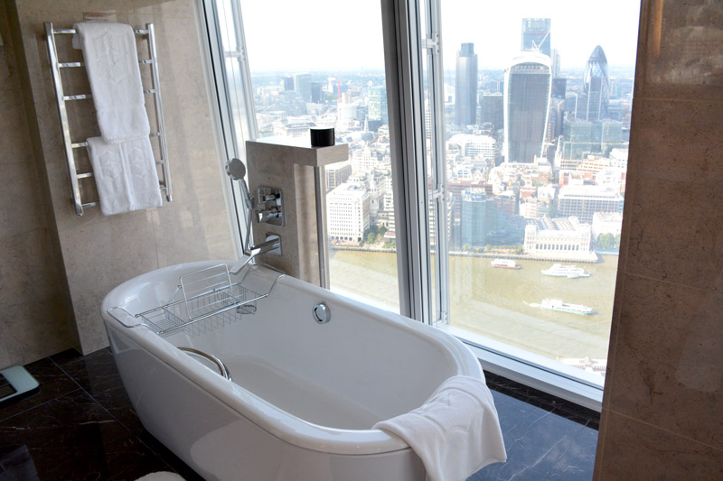 Our bath at the Shangri-La Hotel, with a view of the Thames