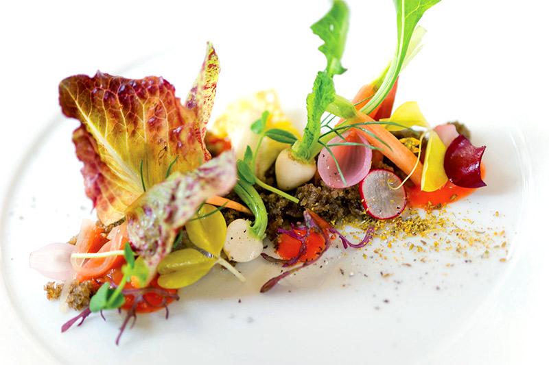 Garden salad at Aubergine restaurant