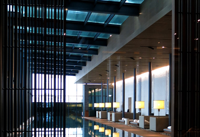 Indoor pool and lounge at The Chedi