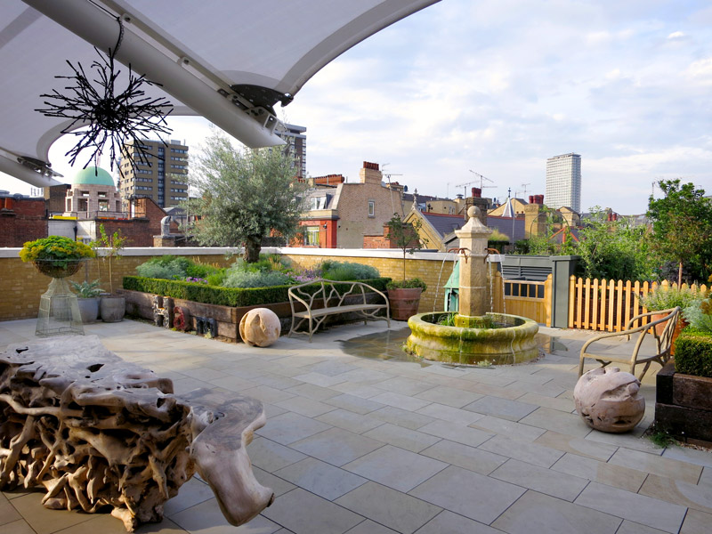 Rooftop terrace at Ham Yard Hotel