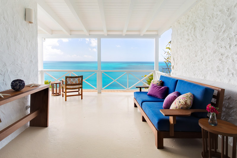 Cottage balcony at Guana Island
