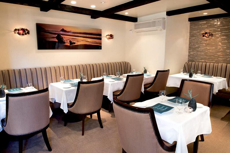 Dining room at Aubergine restaurant