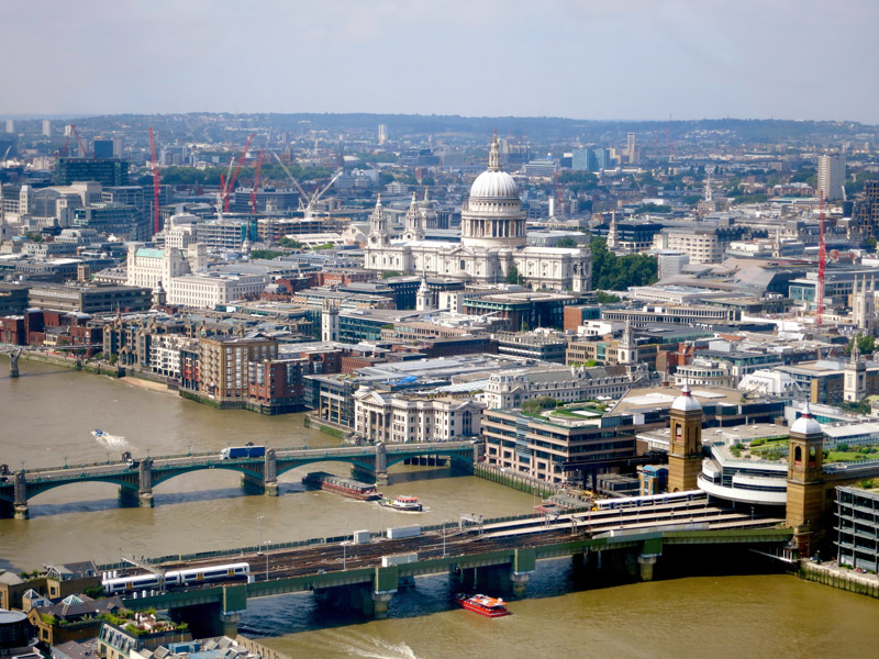 View of Central London, upstream and St. Paul's Cathedral
