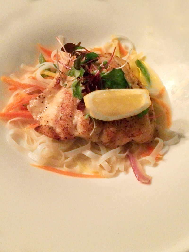 Pan-seared grouper with noodles and vegetables at Peter Island