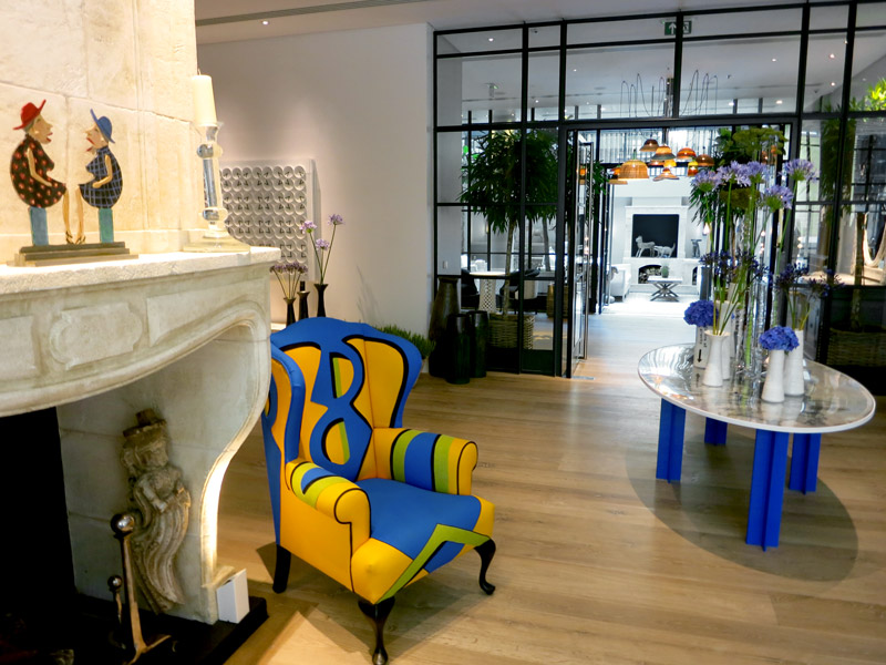 Contemporary décor in the lobby at Ham Yard Hotel