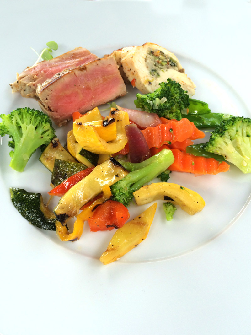 Grilled tuna, ballotine of chicken and fresh sautéed vegetables at Guana Island