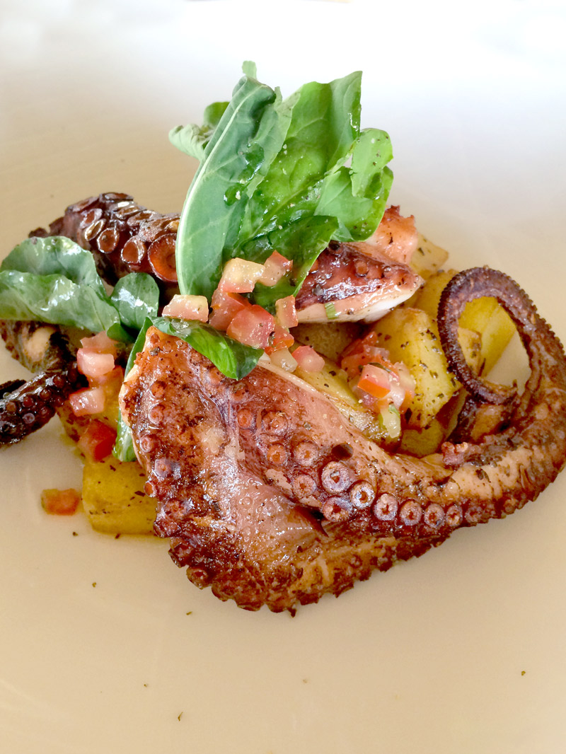 Grilled octopus with boiled parsley potatoes and sun-dried tomato dressing at Eden Roc at Cap Cana