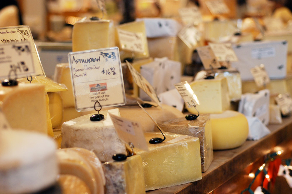 Some of the many cheeses available at Cowgirl Creamery in San Francisco