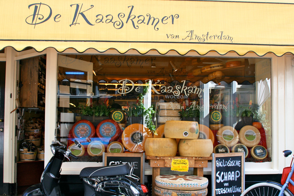 Wheels of cheese in front of De Kaaskamer, Amsterdam