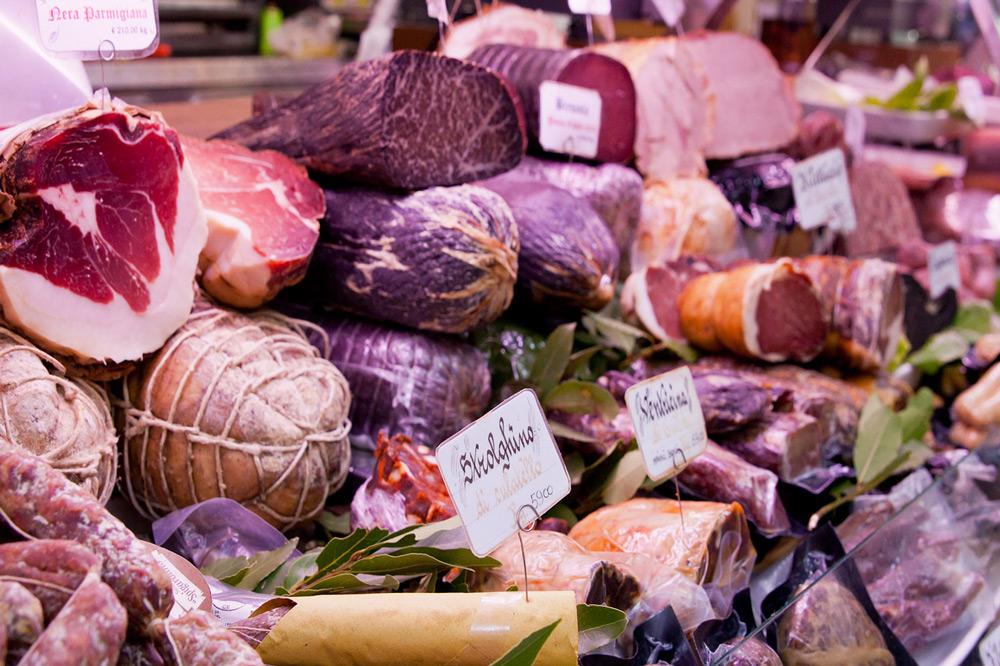 A few of the 300 cured meats at La Tradizione, Rome