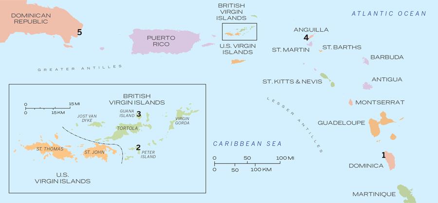 Caribbean IslandHopping Dominica British Virgin Islands - Us virgin islands vs british virgin islands map