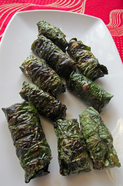 Barbecued betel leaf rolls stuffed with beef, Anantara Mui Ne - Photo by Andrew Harper