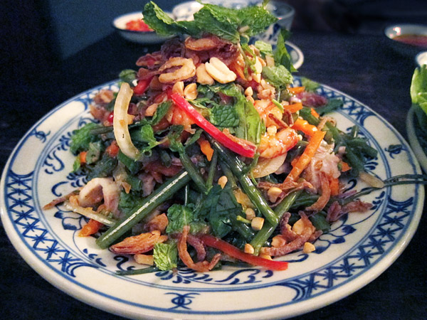 Shrimp and morning glory salad at May restaurant in Saigon - Photo by Andrew Harper