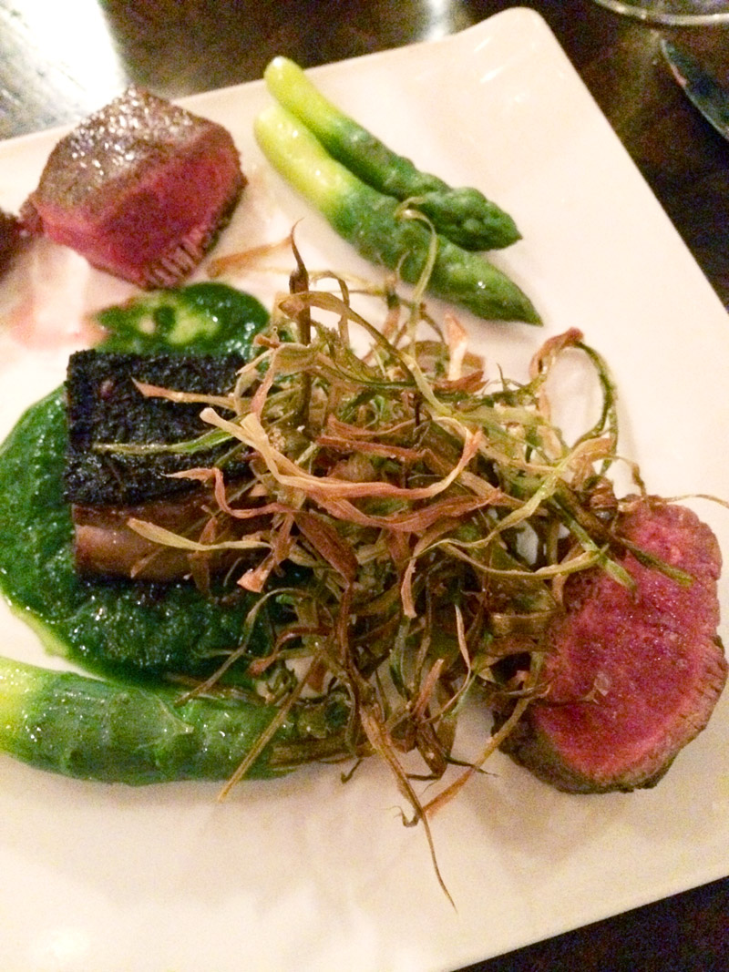 Lamb loin and belly with asparagus at Swift restaurant, The Roundhouse at Beacon Falls
