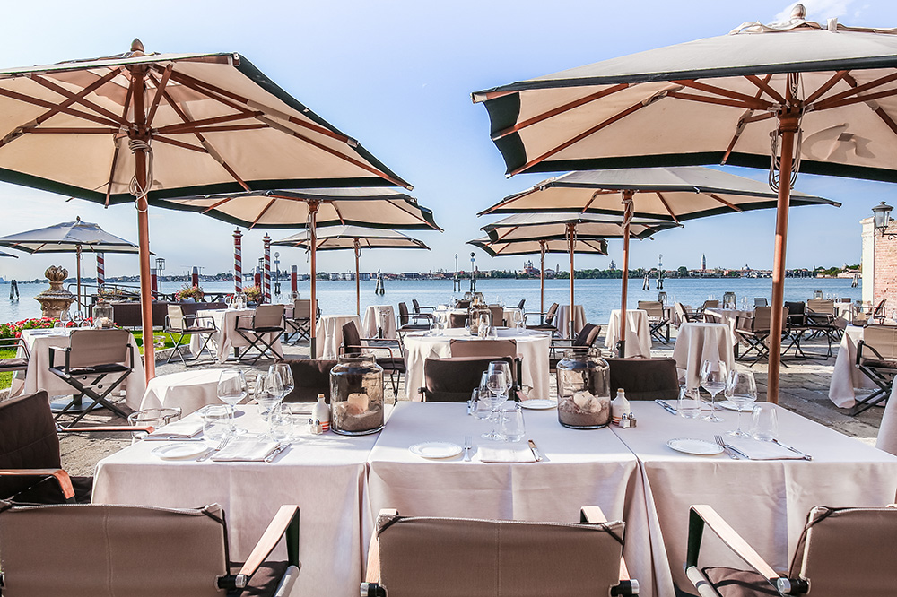 A view from the terrace at <em>Acquerello</em> restaurant at San Clemente Palace Kempinski in Venice, Italy