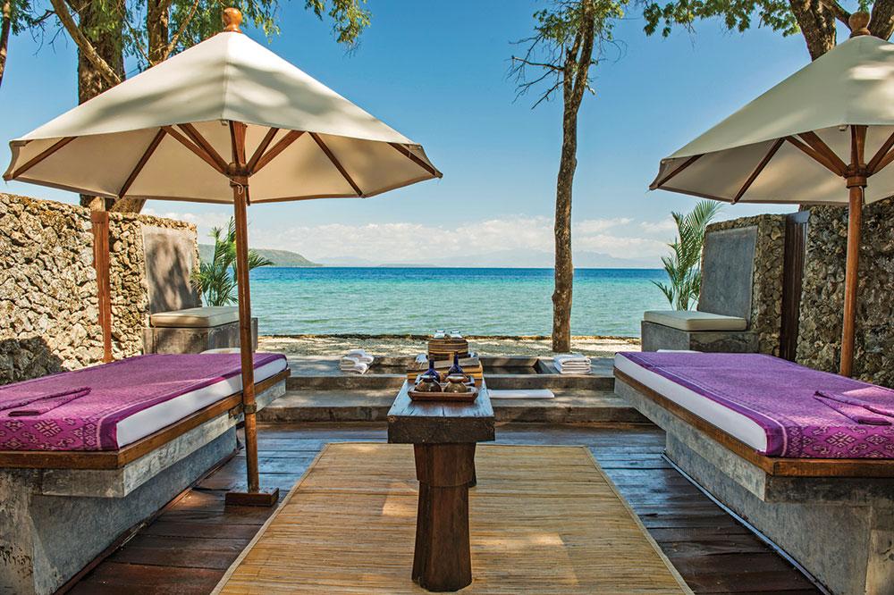 Massage tables at Jungle Cove Spa at Amanwana