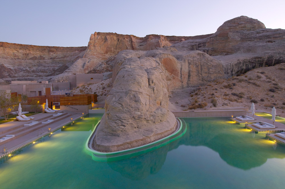 The Amangiri pool at dusk in Canyon Point, Utah