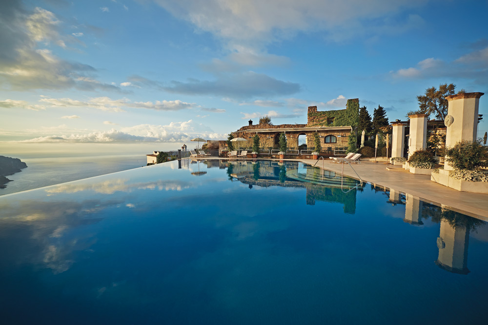 The infinity pool overlooking the Gulf of Salerno at the Belmond Hotel Caruso in Ravello, Italy