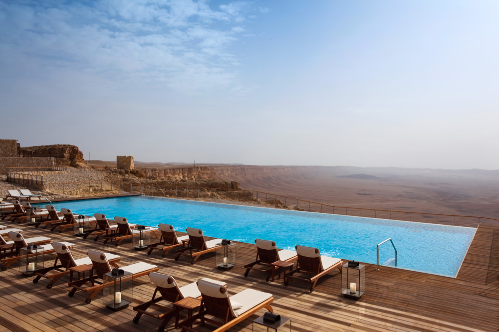 The horizon pool overlooking the Ramon Crater at the Beresheet Hotel in Mitzpe Ramon, Israel