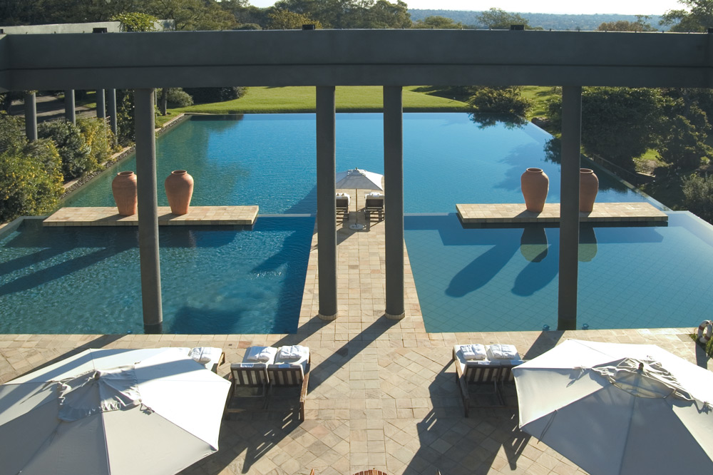 The outdoor horizon pool on the grounds of The Saxon in Johannesburg, South Africa
